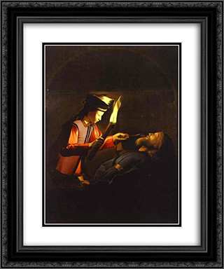 The Discovery of the Body of St. Alexis 20x24 Black or Gold Ornate Framed and Double Matted Art Print by Georges de la Tour