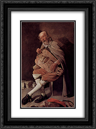 The Hurdy-Gurdy Player, also called Hurdy-Gurdy Player with Hat 18x24 Black or Gold Ornate Framed and Double Matted Art Print by Georges de la Tour