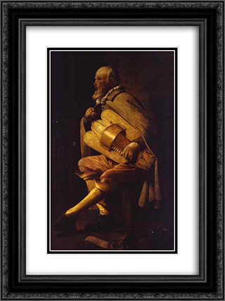 The Hurdy-Gurdy Player 18x24 Black or Gold Ornate Framed and Double Matted Art Print by Georges de la Tour