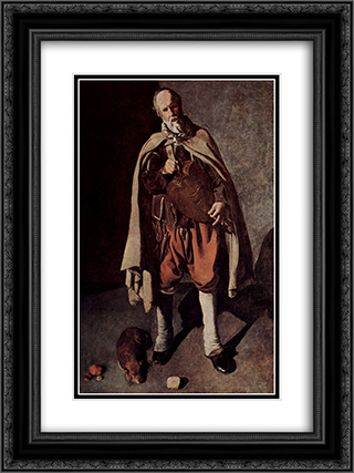 The Hurdy-Gurdy Player with a Dog 18x24 Black or Gold Ornate Framed and Double Matted Art Print by Georges de la Tour