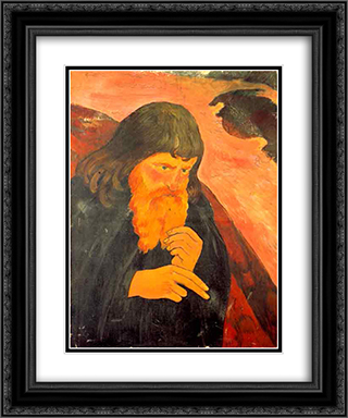 Beard gleaming 20x24 Black or Gold Ornate Framed and Double Matted Art Print by Georges Lacombe