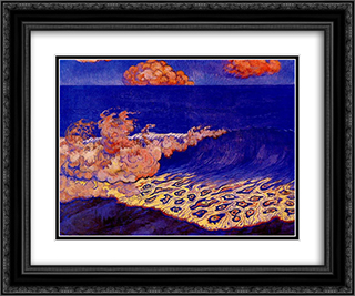 Blue seascape, Wave Effect 24x20 Black or Gold Ornate Framed and Double Matted Art Print by Georges Lacombe