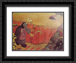 Harvesting of buckwheat in Britain 24x20 Black or Gold Ornate Framed and Double Matted Art Print by Georges Lacombe