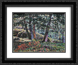 Oaks and Blueberry Bushes 24x20 Black or Gold Ornate Framed and Double Matted Art Print by Georges Lacombe