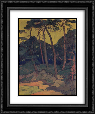 Pines on the shore 20x24 Black or Gold Ornate Framed and Double Matted Art Print by Georges Lacombe