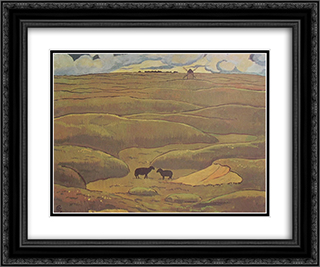 Rams blacks, the year 24x20 Black or Gold Ornate Framed and Double Matted Art Print by Georges Lacombe