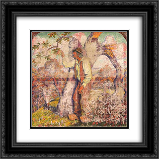 The apple picker 20x20 Black or Gold Ornate Framed and Double Matted Art Print by Georges Lacombe