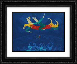 Chiens de cirque 24x20 Black or Gold Ornate Framed and Double Matted Art Print by Georges Papazoff