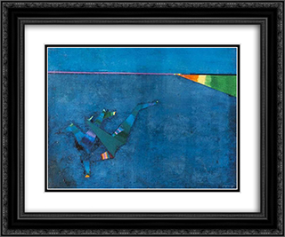 Composition (Blue Background) 24x20 Black or Gold Ornate Framed and Double Matted Art Print by Georges Papazoff