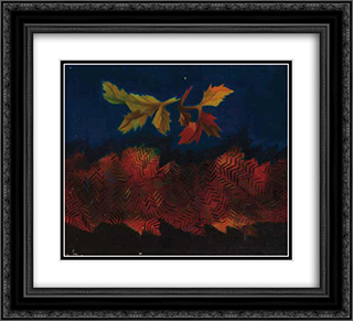 Feuilles mortes 22x20 Black or Gold Ornate Framed and Double Matted Art Print by Georges Papazoff