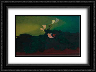 Papillons 24x18 Black or Gold Ornate Framed and Double Matted Art Print by Georges Papazoff