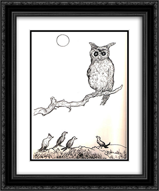Untitled (Owl) 20x24 Black or Gold Ornate Framed and Double Matted Art Print by Georges Ribemont Dessaignes