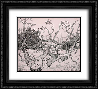 Untitled (Trees) 22x20 Black or Gold Ornate Framed and Double Matted Art Print by Georges Ribemont Dessaignes