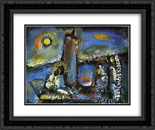 Christ on the Lake 24x20 Black or Gold Ornate Framed and Double Matted Art Print by Georges Rouault
