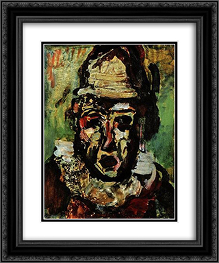 Clown tragique 20x24 Black or Gold Ornate Framed and Double Matted Art Print by Georges Rouault