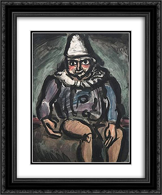 Le Vieux Clown 20x24 Black or Gold Ornate Framed and Double Matted Art Print by Georges Rouault