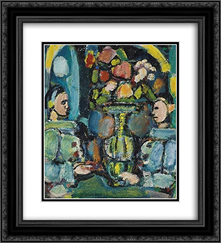Pierrots bleus au bouquet 20x22 Black or Gold Ornate Framed and Double Matted Art Print by Georges Rouault