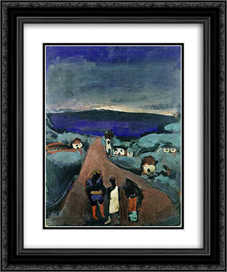 Trois Personnages dans un Paysage de Bretagne 20x24 Black or Gold Ornate Framed and Double Matted Art Print by Georges Rouault