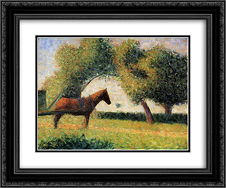 Horse and cart 24x20 Black or Gold Ornate Framed and Double Matted Art Print by Georges Seurat