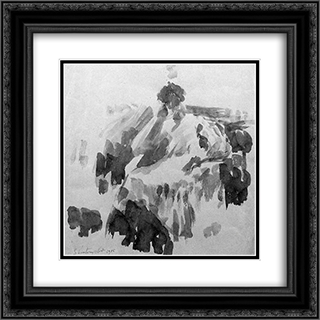 A seated lady 20x20 Black or Gold Ornate Framed and Double Matted Art Print by Georges Vantongerloo