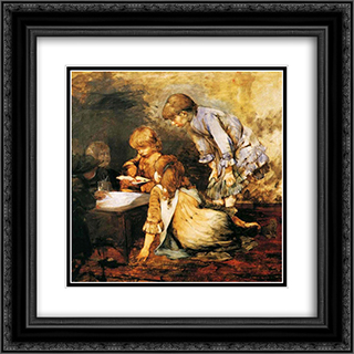 At The Studio 20x20 Black or Gold Ornate Framed and Double Matted Art Print by Georgios Jakobides