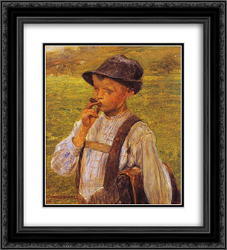Boy Smoking 20x22 Black or Gold Ornate Framed and Double Matted Art Print by Georgios Jakobides