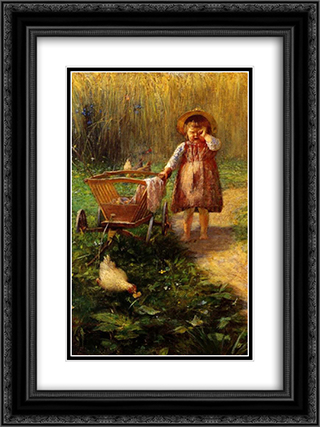 Child with Cart 18x24 Black or Gold Ornate Framed and Double Matted Art Print by Georgios Jakobides