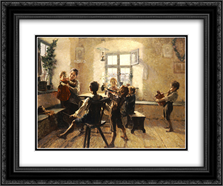 Children's concert 24x20 Black or Gold Ornate Framed and Double Matted Art Print by Georgios Jakobides