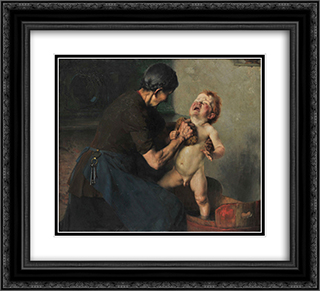 Cold Shower 22x20 Black or Gold Ornate Framed and Double Matted Art Print by Georgios Jakobides