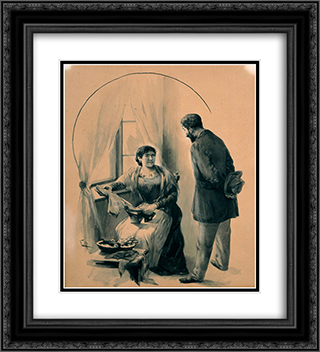 Drawing for the short story The Ugly Sister by D. Vikelas 20x22 Black or Gold Ornate Framed and Double Matted Art Print by Georgios Jakobides