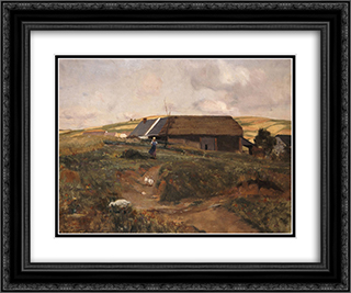 Farmhouse in Bavaria 24x20 Black or Gold Ornate Framed and Double Matted Art Print by Georgios Jakobides