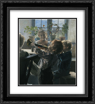 Fragment from the Children's Concert 20x22 Black or Gold Ornate Framed and Double Matted Art Print by Georgios Jakobides