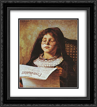 Girl Reading 20x22 Black or Gold Ornate Framed and Double Matted Art Print by Georgios Jakobides