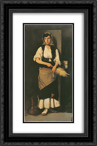 Girl with Distaff and Spindle 16x24 Black or Gold Ornate Framed and Double Matted Art Print by Georgios Jakobides