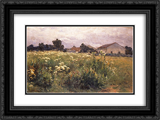 Grassy Field 24x18 Black or Gold Ornate Framed and Double Matted Art Print by Georgios Jakobides
