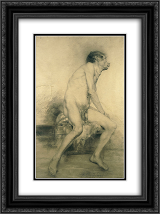 Old Age 18x24 Black or Gold Ornate Framed and Double Matted Art Print by Georgios Jakobides