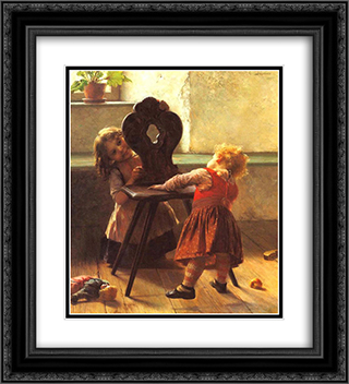 Peek-a-boo 20x22 Black or Gold Ornate Framed and Double Matted Art Print by Georgios Jakobides