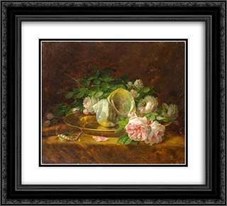 Platter with Seashells, Roses, Pearls and Earrings 22x20 Black or Gold Ornate Framed and Double Matted Art Print by Georgios Jakobides