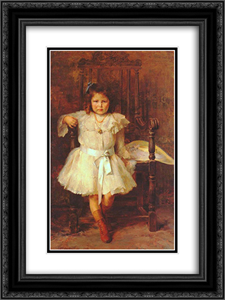 Portrait of Young Girl 18x24 Black or Gold Ornate Framed and Double Matted Art Print by Georgios Jakobides