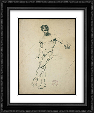 Study of a nude youth 20x24 Black or Gold Ornate Framed and Double Matted Art Print by Georgios Jakobides