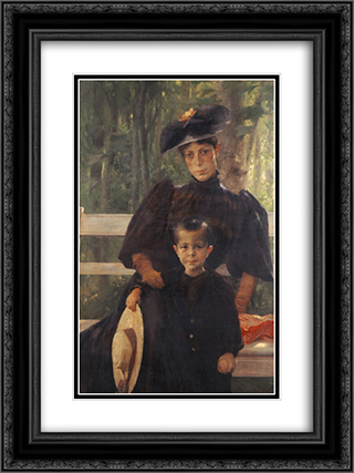 The Artist's Wife with Their Son 18x24 Black or Gold Ornate Framed and Double Matted Art Print by Georgios Jakobides