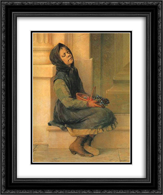 The Flower Seller 20x24 Black or Gold Ornate Framed and Double Matted Art Print by Georgios Jakobides