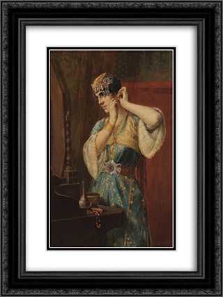 The Toilette 18x24 Black or Gold Ornate Framed and Double Matted Art Print by Georgios Jakobides