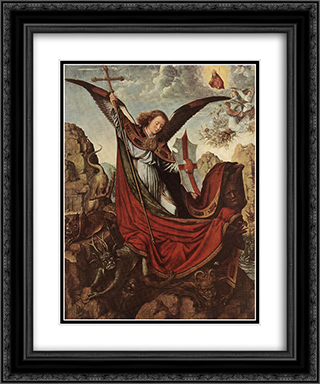 Altar of Archangel Michael 20x24 Black or Gold Ornate Framed and Double Matted Art Print by Gerard David