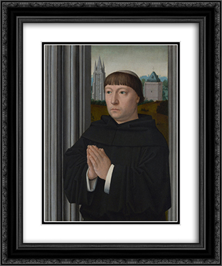 An Augustinian Friar Praying 20x24 Black or Gold Ornate Framed and Double Matted Art Print by Gerard David