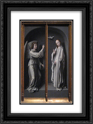 Archangel Gabriel and Virgin Annunciate 18x24 Black or Gold Ornate Framed and Double Matted Art Print by Gerard David