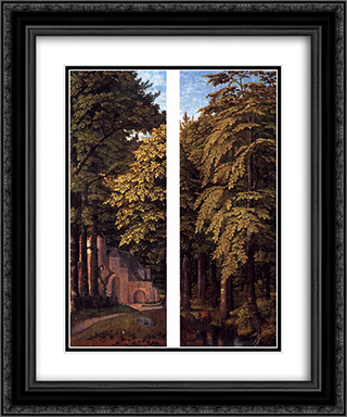 Forest Scene 20x24 Black or Gold Ornate Framed and Double Matted Art Print by Gerard David
