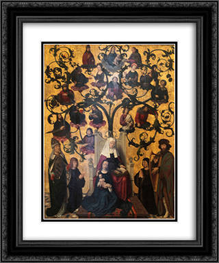 Lineage of Saint Anne 20x24 Black or Gold Ornate Framed and Double Matted Art Print by Gerard David
