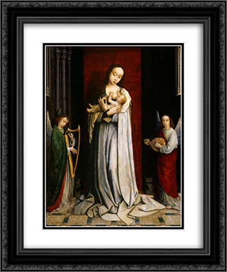 Madonna and Child with Two Music Making Angels 20x24 Black or Gold Ornate Framed and Double Matted Art Print by Gerard David