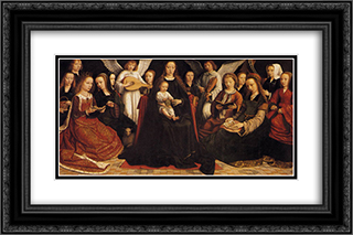 Madonna with Angels and Saints 24x16 Black or Gold Ornate Framed and Double Matted Art Print by Gerard David